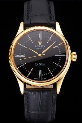 Swiss Rolex Cellini Black Dial Roman Numerals Gold Case Black Leather Strap Replica Rolex