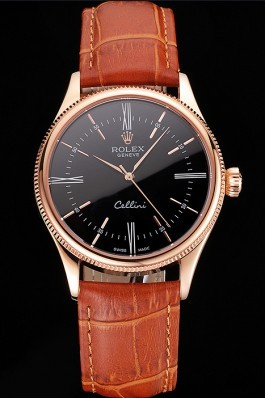 Swiss Rolex Cellini Black Dial Roman Numerals Rose Gold Case Light Brown Leather Strap Replica Rolex