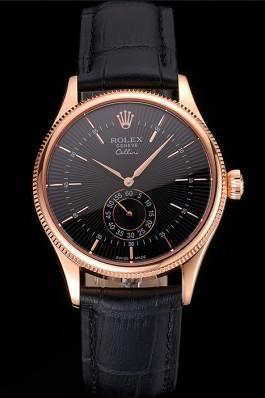 Swiss Rolex Cellini Black Dial Rose Gold Case Black Leather Strap Replica Rolex