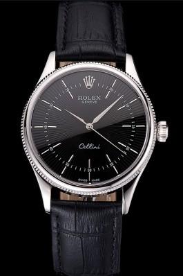 Swiss Rolex Cellini Black Dial Steel Case Black Leather Strap Replica Rolex