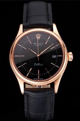 Swiss Rolex Cellini Date Black Dial Rose Gold Markings Rose Gold Case Black Leather Strap Replica Rolex