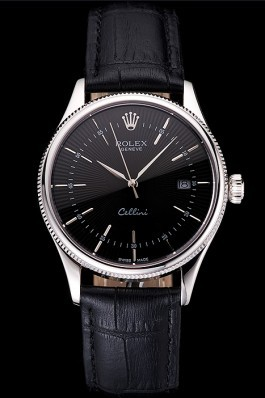 Swiss Rolex Cellini Date Black Dial Stainless Steel Case Black Leather Strap Replica Rolex