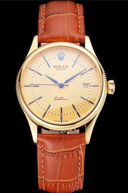 Swiss Rolex Cellini Date Gold Guilloche Dial Gold Case Light Brown Leather Strap Replica Rolex