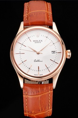 Swiss Rolex Cellini Date White Dial Rose Gold Case Brown Leather Strap Replica Rolex