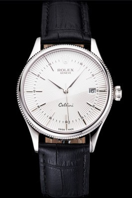 Swiss Rolex Cellini Date White Dial Stainless Steel Case Black Leather Strap Replica Rolex
