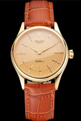 Swiss Rolex Cellini Gold Dial And Markings Gold Case Light Brown Leather Strap Replica Rolex