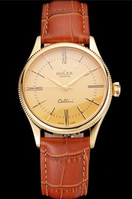 Swiss Rolex Cellini Gold Dial Roman Numerals Gold Case Light Brown Leather Strap Replica Rolex