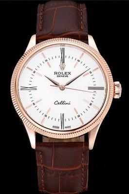 Swiss Rolex Cellini Time Gold Case White Dial Brown Leather Bracelet 622655 Replica Rolex