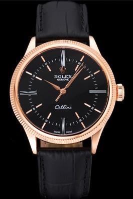 Swiss Rolex Cellini Time Rose Gold Case Black Dial Black Leather Bracelet 622656 Replica Rolex
