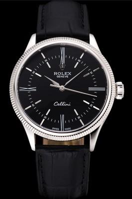 Swiss Rolex Cellini Time Silver Case Black Dial Black Leather Bracelet 622654 Replica Rolex