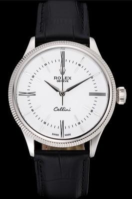 Swiss Rolex Cellini Time Silver Case White Dial Black Leather Bracelet 622653 Replica Rolex