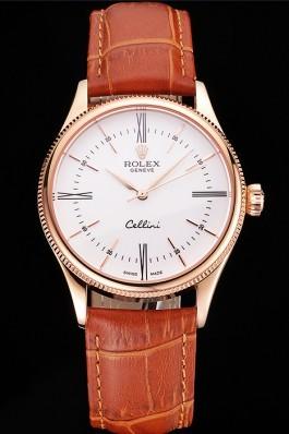 Swiss Rolex Cellini White Dial Roman Numerals Rose Gold Case Light Brown Leather Strap Replica Rolex