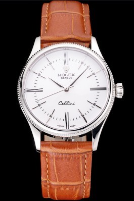 Swiss Rolex Cellini White Dial Roman Numerals Stainless Steel Case Light Brown Leather Strap Replica Rolex