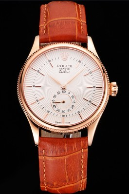Swiss Rolex Cellini White Dial Rose Gold Case Light Brown Leather Strap Replica Rolex