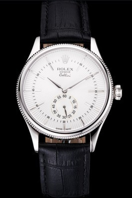 Swiss Rolex Cellini White Dial Stainless Steel Case Black Leather Strap Replica Rolex