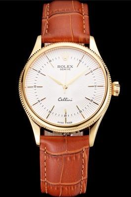 Swiss Rolex Cellini White Guilloche Dial Gold Case Light Brown Leather Strap Replica Rolex