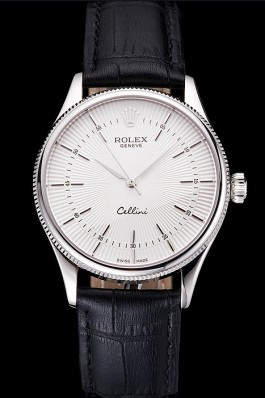 Swiss Rolex Cellini White Guilloche Dial Stainless Steel Case Black Leather Strap Replica Rolex