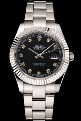 Swiss Rolex Datejust Black Dial Dimond Hour Marks Stainless Steel Case And Bracelet Replica Rolex Datejust