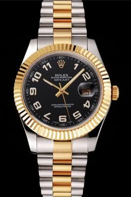 Swiss Rolex Datejust Black Dial Gold Bezel Stainless Steel Case Two Tone Bracelet Replica Rolex Datejust