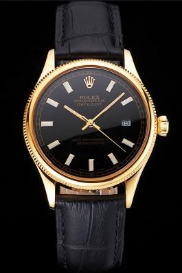 Swiss Rolex Datejust Black Dial Gold Case Black Leather Strap Replica Rolex Datejust