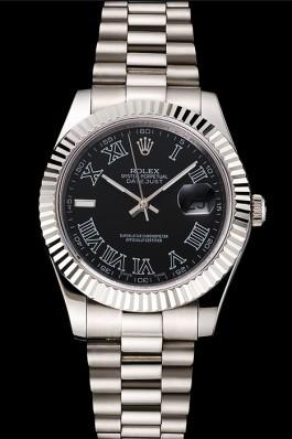 Swiss Rolex Datejust Black Dial Roman Numerals Stainless Steel Case And Bracelet Replica Rolex Datejust