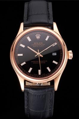 Swiss Rolex Datejust Black Dial Rose Gold Case Black Leather Strap Replica Rolex Datejust