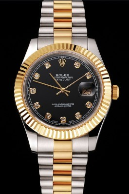 Swiss Rolex Datejust Black Dial Stainless Steel Case Gold Bezel Two Tone Bracelet Replica Rolex Datejust