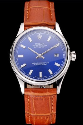Swiss Rolex Datejust Blue Dial Stainless Steel Case Light Brown Leather Strap Replica Rolex Datejust
