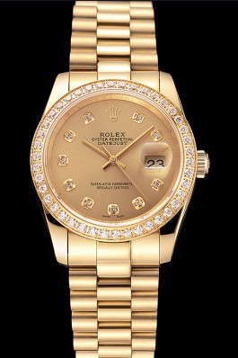 Swiss Rolex Datejust Champagne Dial Diamond Bezel Gold Bracelet 1454097 Replica Rolex Datejust