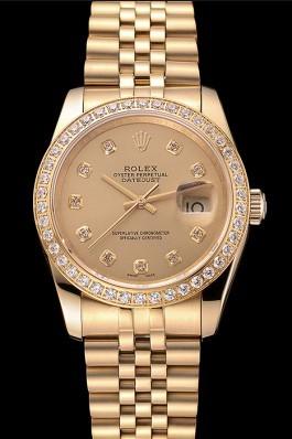 Swiss Rolex Datejust Champagne Dial Diamond Bezel Gold Jubilee Bracelet 1454098 Replica Rolex Datejust