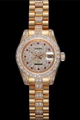 Swiss Rolex DateJust Diamond Dial Gold 622023 Replica Rolex Datejust