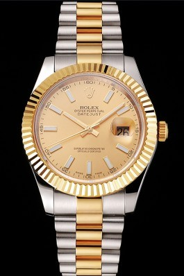 Swiss Rolex Datejust Gold Dial Gold Bezel Stainless Steel Case Two Tone Bracelet Replica Rolex Datejust