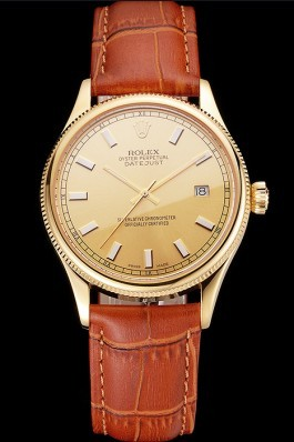 Swiss Rolex Datejust Gold Dial Gold Case Light Brown Leather Strap Replica Rolex Datejust