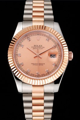 Swiss Rolex Datejust Rose Gold Dial And Bezel Stainless Steel Case Two Tone Bracelet Replica Rolex Datejust