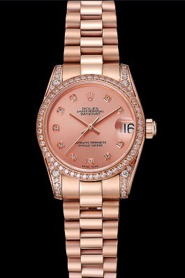 Swiss Rolex DateJust Rose Gold Dial Diamond Case Rose Gold Bracelet 1453977 Replica Rolex Datejust