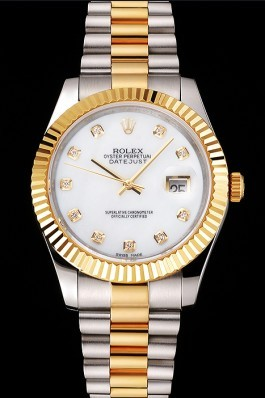 Swiss Rolex Datejust White Dial Diamond Hour Marks Gold Bezel Stainless Steel Case Two Tone Bracelet Replica Rolex Datejust
