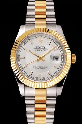 Swiss Rolex Datejust White Dial Gold Bezel Stainless Steel Case Two Tone Gold Bracelet Replica Rolex Datejust
