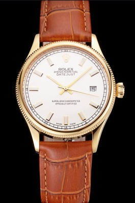 Swiss Rolex Datejust White Dial Gold Case Light Brown Leather Strap Replica Rolex Datejust