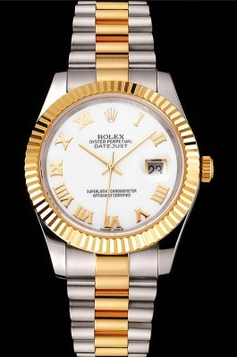 Swiss Rolex Datejust White Dial Roman Numerals Gold Bezel Stainless Steel Case Two Tone Bracelet Replica Rolex Datejust