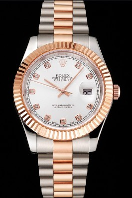 Swiss Rolex Datejust White Dial Rose Gold Bezel Stainless Steel Case Two Tone Bracelet Replica Rolex Datejust