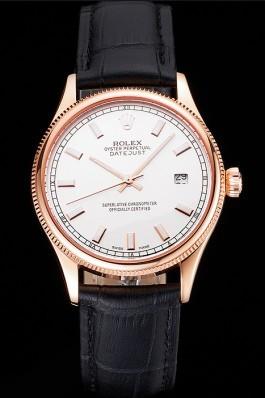 Swiss Rolex Datejust White Dial Rose Gold Case Black Leather Strap Replica Rolex Datejust