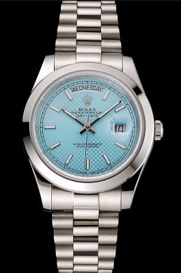 Swiss Rolex Day Date 40 Platinum Ice Blue Dial Stainless Steel Case And Bracelet Rolex Replica Aaa