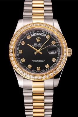 Swiss Rolex Day-Date Black Dial Gold Diamond Case Two Tone Stainless Steel Bracelet 1453975 Rolex Replica Aaa