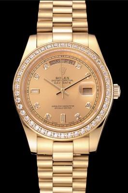 Swiss Rolex Day-Date Champagne Dial Diamond Bezel Gold Bracelet 1454099 Rolex Replica Aaa