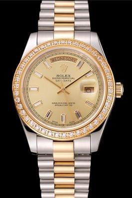 Swiss Rolex Day-Date Champagne Dial Diamond Bezel Two Tone Bracelet 1454103 Rolex Replica Aaa