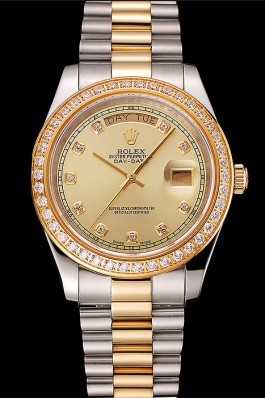 Swiss Rolex Day-Date Champagne Dial Gold Diamond Case Two Tone Stainless Steel Bracelet 1453974 Rolex Replica Aaa