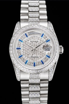 Swiss Rolex Day Date Diamond Pave Dial And Bezel And Stainless Steel Bracelet  Rolex Replica Aaa
