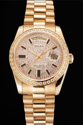 Swiss Rolex Day Date Diamond Pave Dial And Bezel Gold Case And Bracelet Rolex Replica Aaa