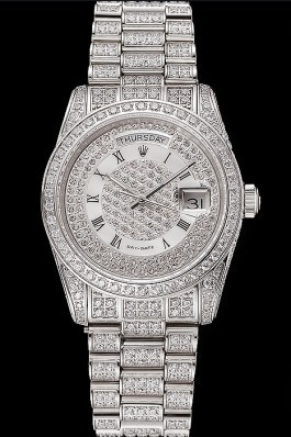 Swiss Rolex Day-Date Diamond Pave Dial Diamond Case Diamond Bracelet 1453950 Rolex Replica Aaa