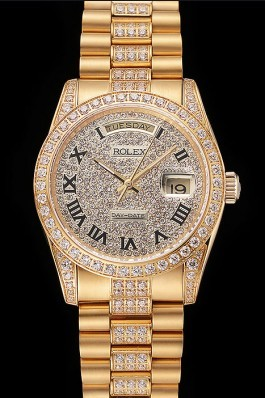 Swiss Rolex Day-Date Diamond Pave Dial Gold Diamond Bracelet 1453956 Rolex Replica Aaa